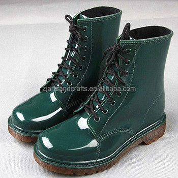 Fashion lsce-up green martin rain shoe pvc rain boot plastic ankle boot