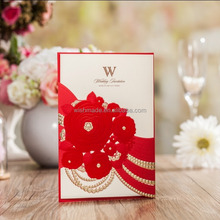 2017 hot sale wedding invitation cards with envelopes and seals cw6039