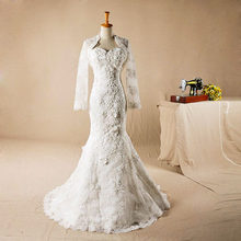 AH122 Heavy lace appliqued sheath style train east bridal wedding dress wedding dresses china bridal dress with small jacket