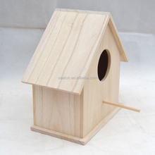 Eco-friendly Unfinished Small Wood Crafts Wooden Decorated Bird House