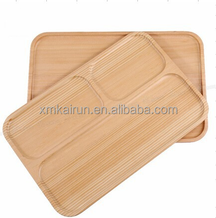 Food Grade Square Wood Tray Divided Compartments Serving Tray