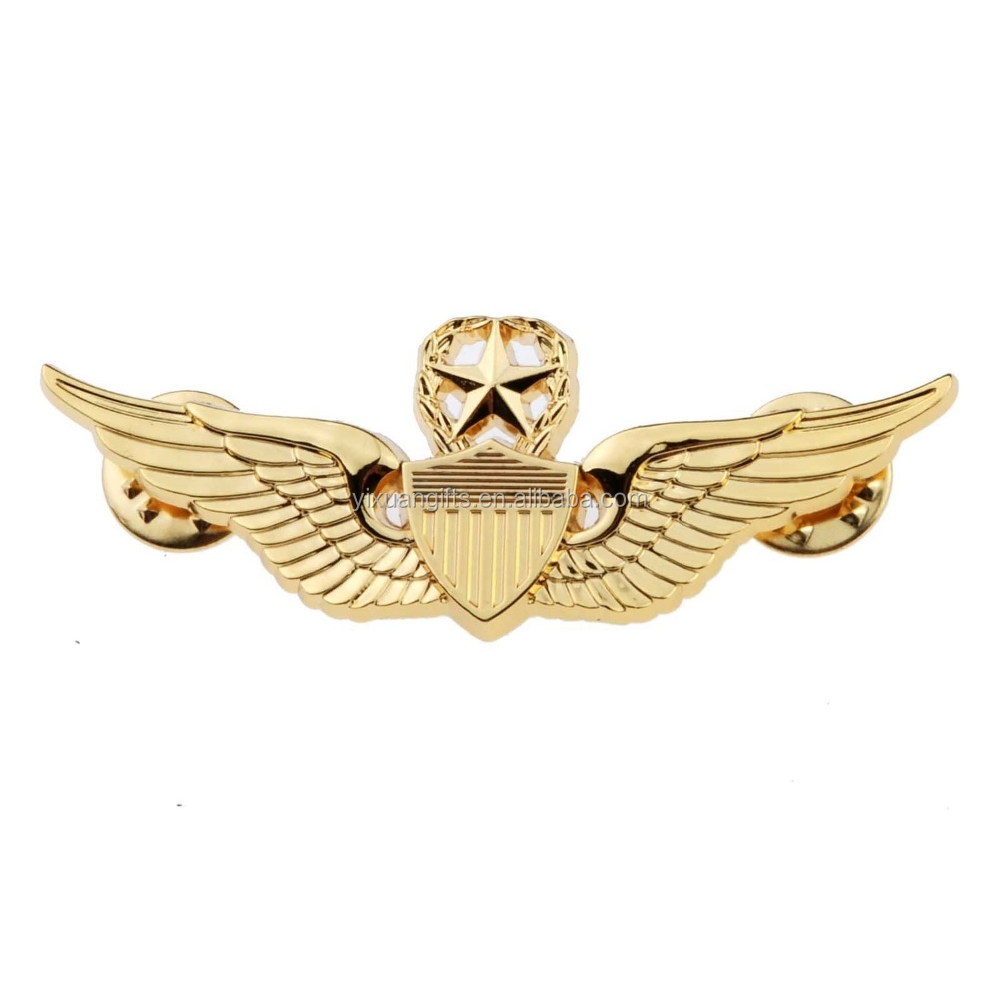 Generic Men's USAF Wings Military Command Pilot Metal Wings Metal Badge Pin Gold