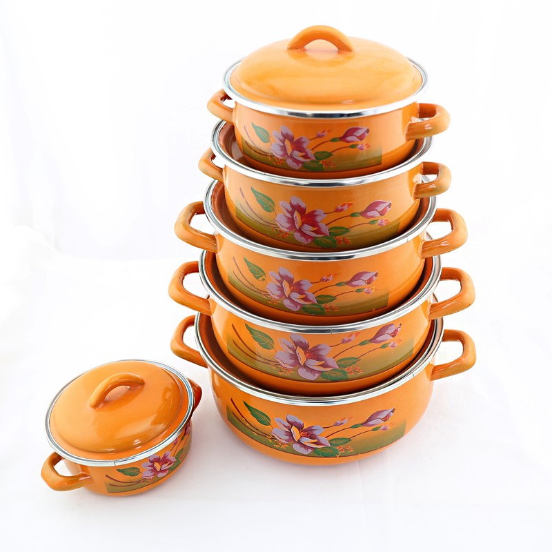 factory supply 12pcs enamel pot set kitchen cookware porcelain clad casserole ,orange yellow 6sets enamelware