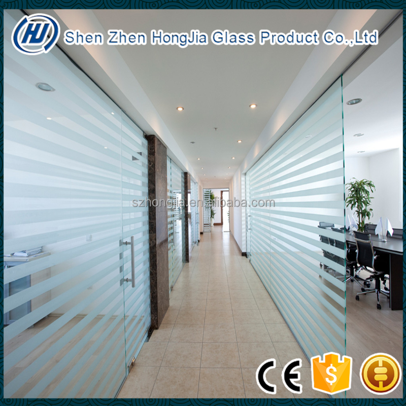 clear or frosted office tempered glass partition