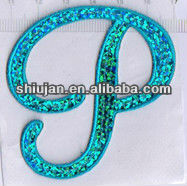 sticky blue custom sequin alphabet patch
