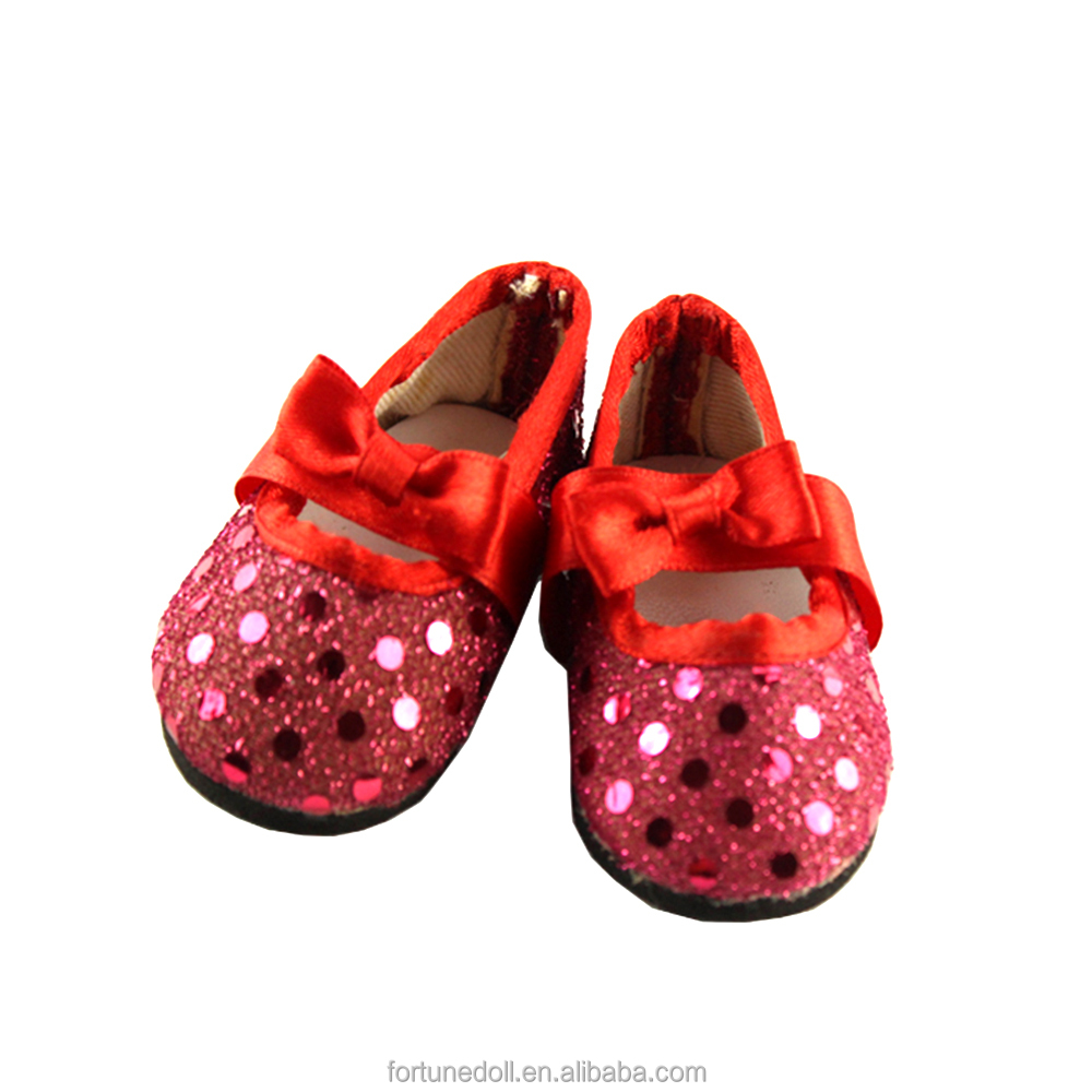 JC010-doll shoes- 18 inch american girls doll glittery red bow flat-doll clothes manufacturer china