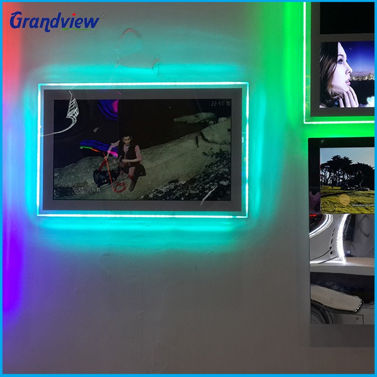Wall mounted small advertising display LED advertising RGB acrylic video light box, View LED ...