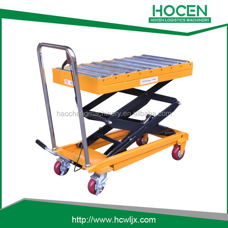 The roller type of load capacity 350kg portable manual hydraulic lifter