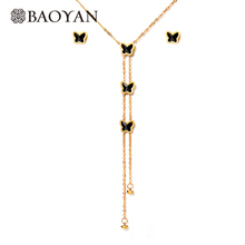 BAOYAN 316L Stainless Steel Silver Gold Color Y Shaped Lariat Onyx Butterfly Jewelry sets for Women Jewelry Stainless Steel