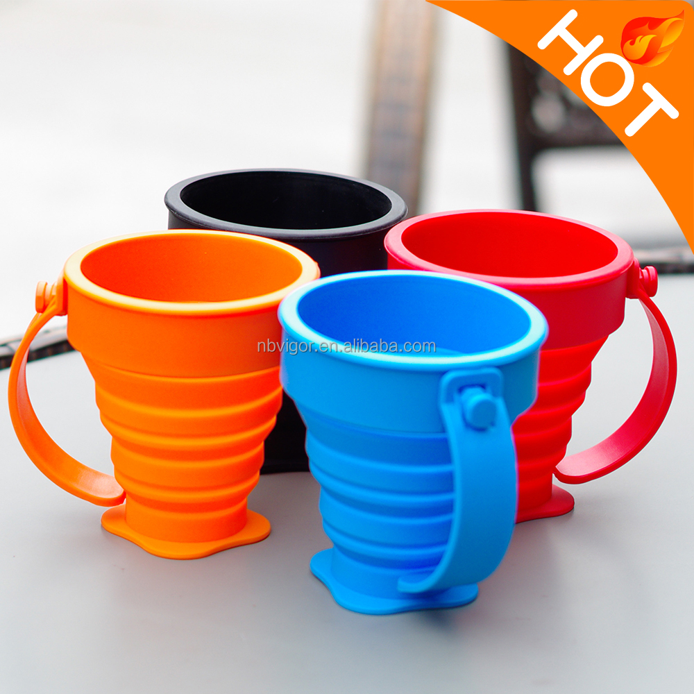 B03-1755 BPA Free 8ozL Custom Logo Silicone Outdoor Travel Collapsible Folding Cup With Lid And Handle