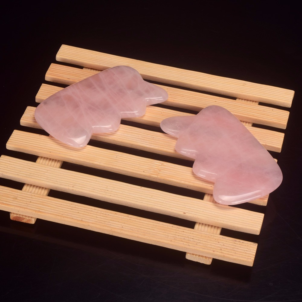 Hot sale weave shape rose quartz Head Massager Gua Sha Board