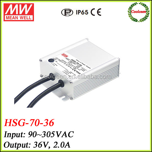 Meanwell HSG-70-36 72w constant voltage led driver 36v 2a