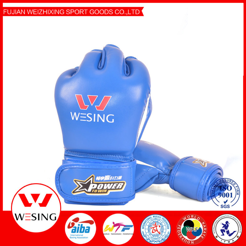 pu leather mma grappling boxing gloves half finger hand protector sparring gear