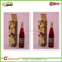 Custom printed corrugated cardboard wine packaging carrier box