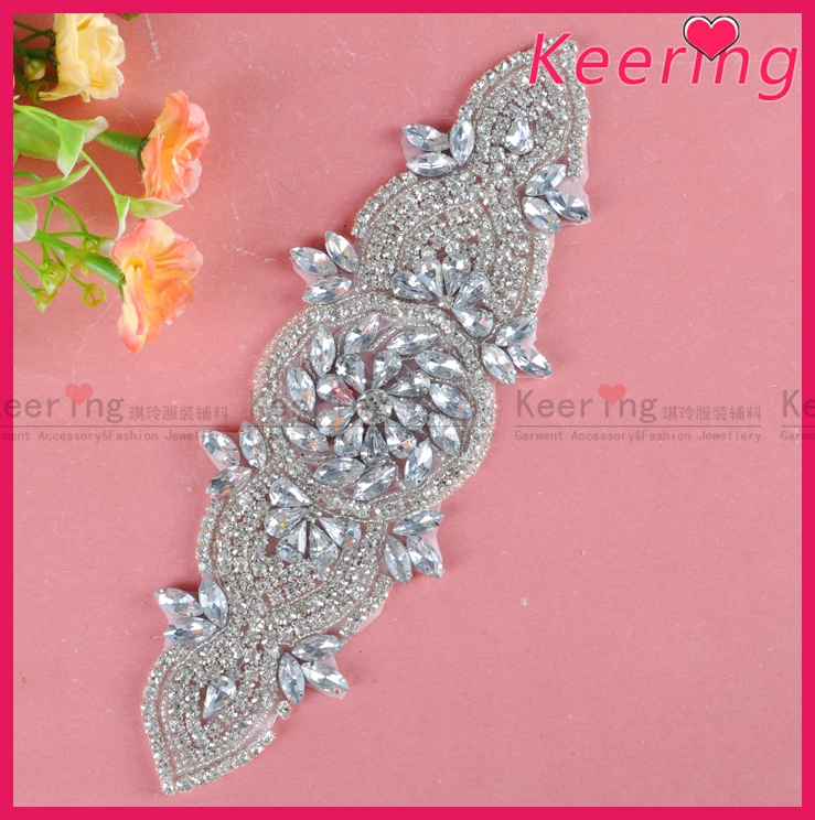 Beaded detailed bridal Headband Jewelry sash rhinestone belt WRA-819