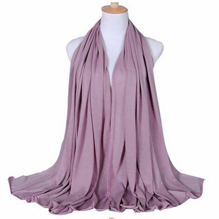 Trends Elegant Solid Color pink print plain long muslim women Jersey Scarf -with Diff Colors