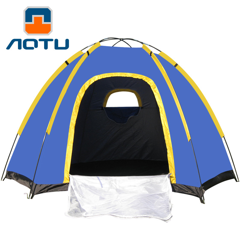 Concave convex camping outdoor 3-4 people six Jiao AT6503 tents