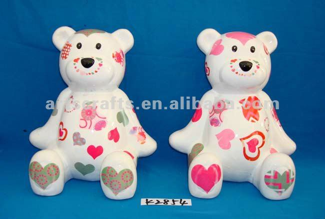 Ceramic bear with money box