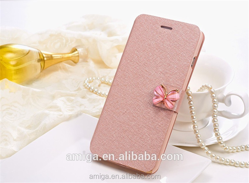 Trending product Butterfly Wallet Silk Leather Stand Flip case cover for iphone 7