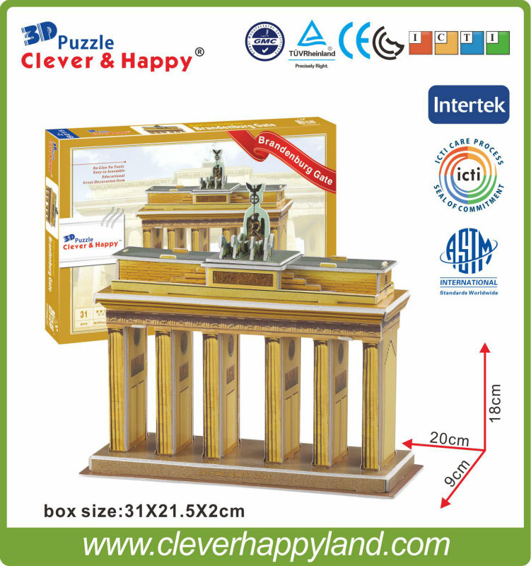Educational toy EPS paper game stereoscopic DIY brandenburg gate 3d puzzle