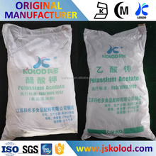 Food grade manufacturer of Potassium Acetate CH3COOK - both solution and solid (powder) used in food industry