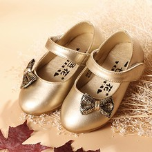Wholesales Sequin Bow Knot Kids Girls Ballet Shoes Ankle Strap Children Flats Shoes Toddlers Footwear Gold/silver