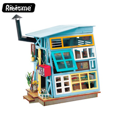 New Wooden Hut wooden toy houses diy doll house wood craft construction kit