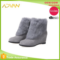 Cute Winter Boots For Women Round Toe Wedge Heel Side Zipper Solid Ladies Boots Gray