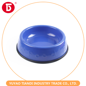custom plastic dog bowl decorative pet feeder with rubber ring