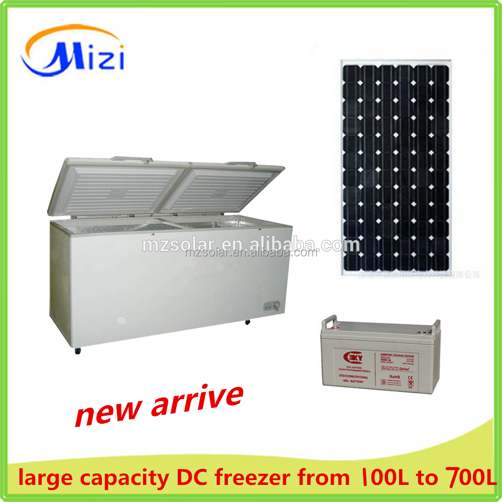 100L-700L DC chest freezer 12v 24v top sliding door fridge
