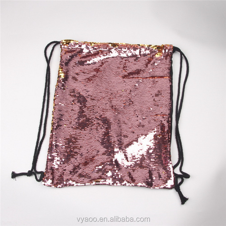 2017 Wholesale mermaid sequins sports package Outdoor Drawstring backpack