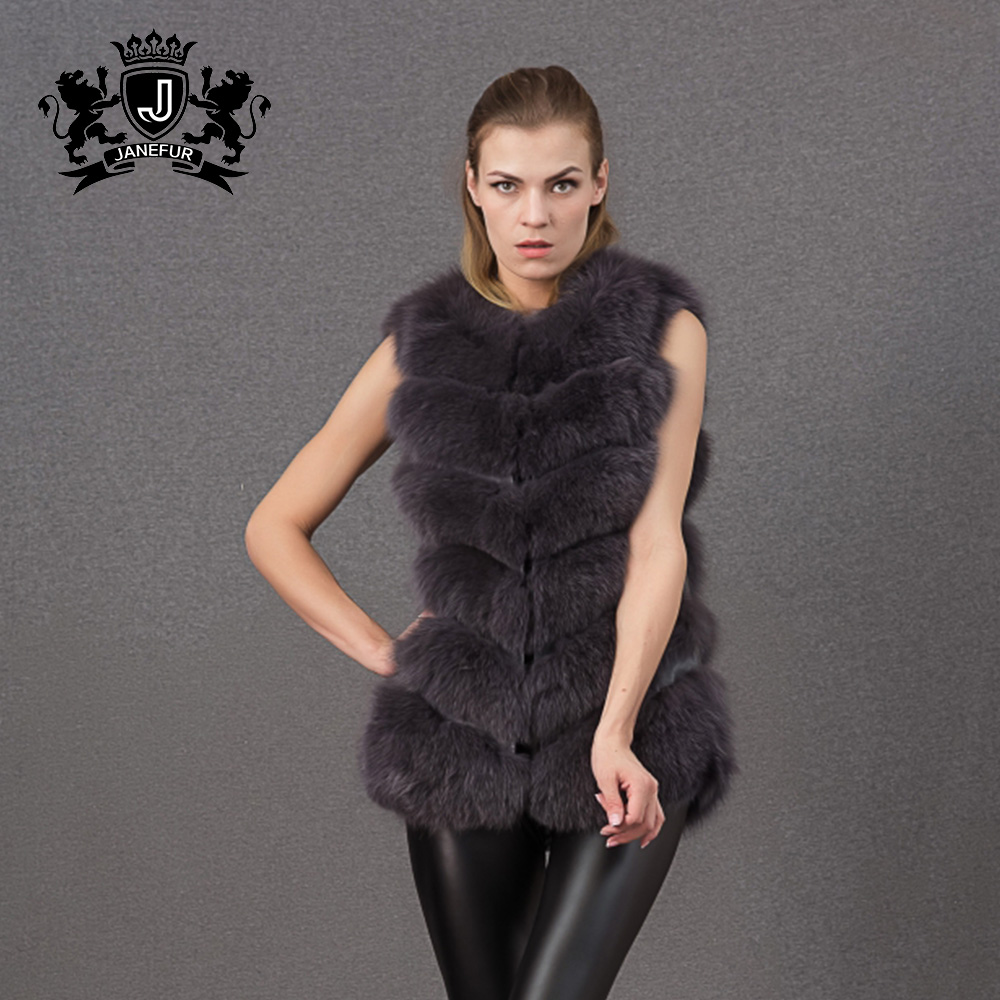 the lastest fox fur coat best selling ladies brown faux fur vest