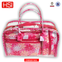 pvc covered canvas floral fashion travel cosmetic bag