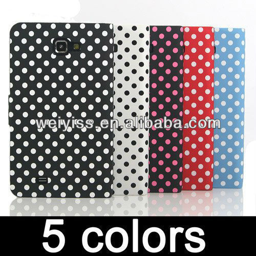 White Polka Dots Leather Flip Stand Wallet Injection Mould Case Cover Holder Case for Galaxy Note i9220