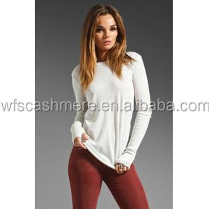 hot style beautiful colour crew neck pullover 100% cashmere sweater women