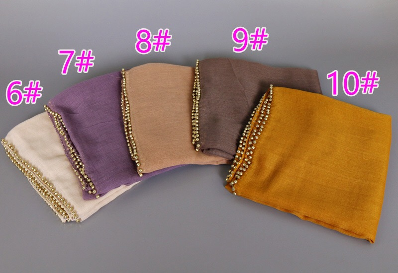 Factory Sale Plain Pearl Hijab Women Cotton Viscose Scarf Solid Color Headband Muffler Elegant Scarves