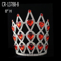Red Heart Stone Color Rhinestone Pageant Crown