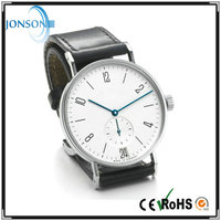 Custom brand watch genuine leather 2015 with silver polished case