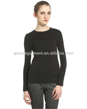 Comfortable long sleeve breathable T-shirts for women/ladies with round collar
