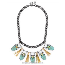 Hematite turquoise bead burlesque bib necklace with gold tassel