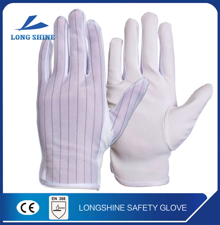 high quality white Stripes Polyester PC Anti-Static NoShock ESD Hand Protective Safe Gloves