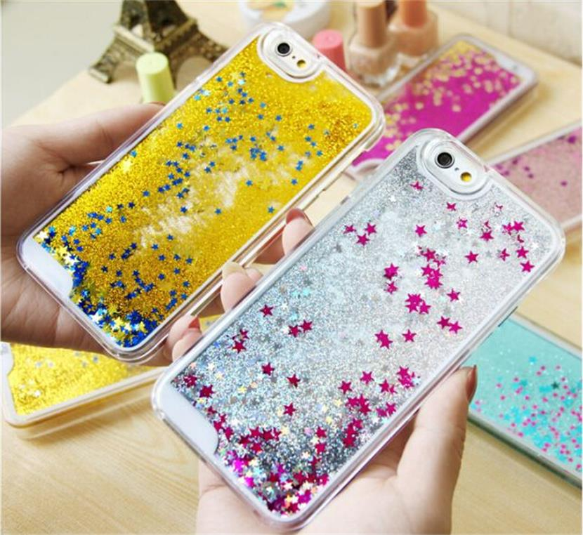 Popular mobile phone accessories liquid glitter star phone case for iphone high quality pc case for girls