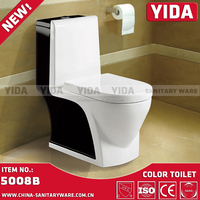 Middle East Hot Sale Black and White Toilet in Bathroom, Top Toilet Hotel WC, China wc