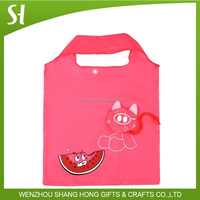 customized flower shape polyester foldable tote bag/colorful nylon drawstring bag promotional