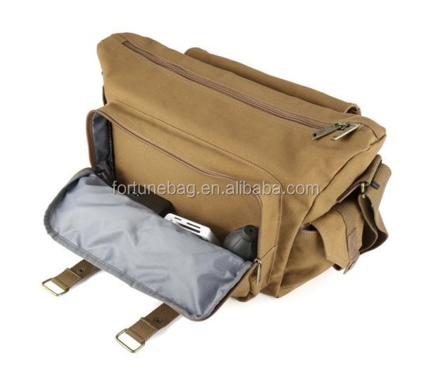 SLR Camera Bag, Large Canvas Messenger SLR/DSLR Camera Bag with Rain Cover for Digital Cameras, Laptops and other Accessories
