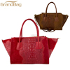 Genuine leather handbags crocodile Print real leather red shoulder bag for lady high quality tote bag wholesale