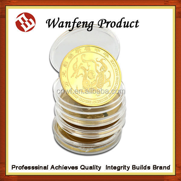custom two side 24k gold piating coins