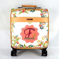 Small size Beautiful CMYK PU leather priting trolley luggages for ladies
