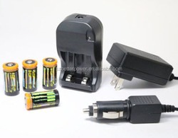 New RECHARGEABLE CR123A 3v LFP Batteries and SMART AC/DC Charger and car charger