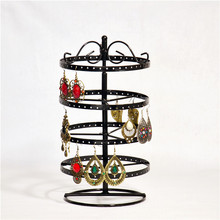 4 Tiers Black Rotating Spin Table 92 Pairs Earring Organizer Metal Jewelry Display Stands